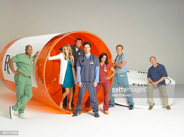 "Walt Disney Television via Getty Images Television Network's ""Scrubs"" stars Zach Braff as John ""J.D."" Dorian, Donald Faison as Chris Turk, Sarah..."