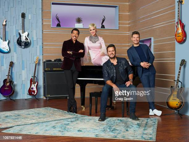 IDOL Walt Disney Television via Getty Images's American Idol host Ryan Seacrest with judges Lionel Richie Katy Perry and Luke Bryan