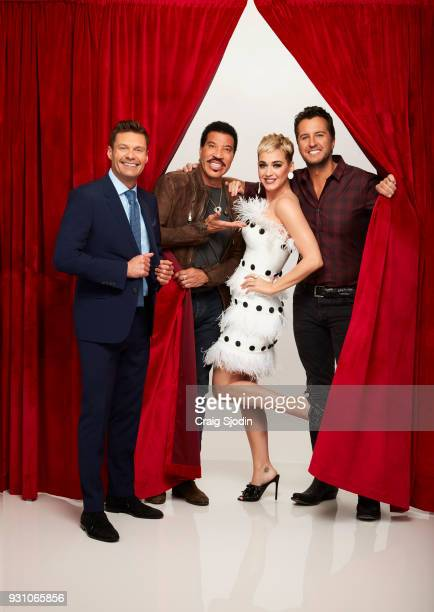 IDOL ABC's 'American Idol' host Ryan Seacrest with judges Lionel Richie Katy Perry and Luke Bryan