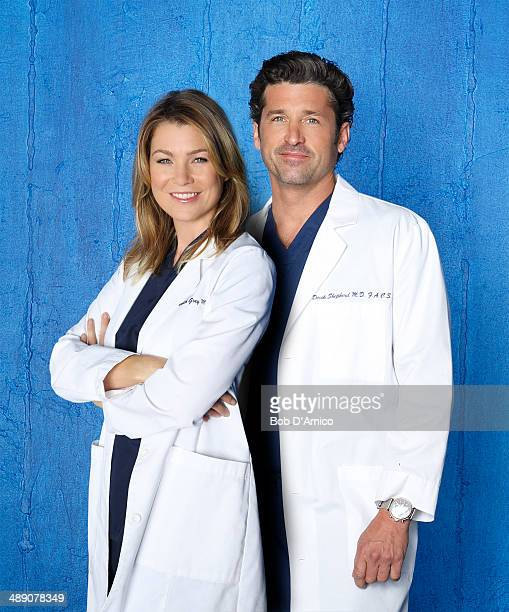 "Walt Disney Television via Getty Images's ""Grey's Anatomy"" stars Ellen Pompeo as Dr. Meredith Grey and Patrick Dempsey as Dr. Derek Shepherd."