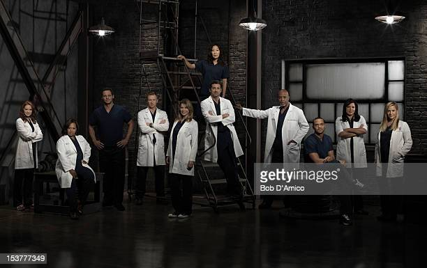 S ANATOMY Walt Disney Television via Getty Images's Grey's Anatomy stars Sarah Drew as Dr April Kepner Chandra Wilson as Dr Miranda Bailey Justin...