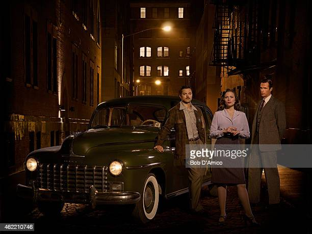 """Walt Disney Television via Getty Images's """"Marvel's Agent Carter"""" stars Dominic Cooper as Howard Stark, Hayley Atwell as Agent Peggy Carter and James..."""