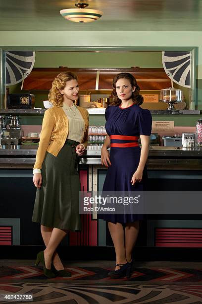 "Walt Disney Television via Getty Images's ""Marvel's Agent Carter"" stars Bridget Regan as Dottie Underwood and Hayley Atwell as Agent Peggy Carter."