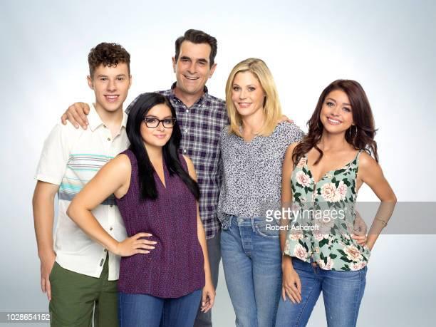 "Walt Disney Television via Getty Images's ""Modern Family"" stars Nolan Gould as Luke Dunphy, Ariel Winter as Alex Dunphy, Ty Burrell as Phil Dunphy,..."