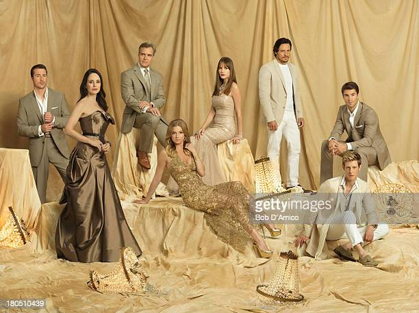 """Walt Disney Television via Getty Images's """"Revenge"""" stars Barry Sloane as Aiden Mathis, Madeleine Stowe as Victoria Grayson, Henry Czerny as Conrad..."""