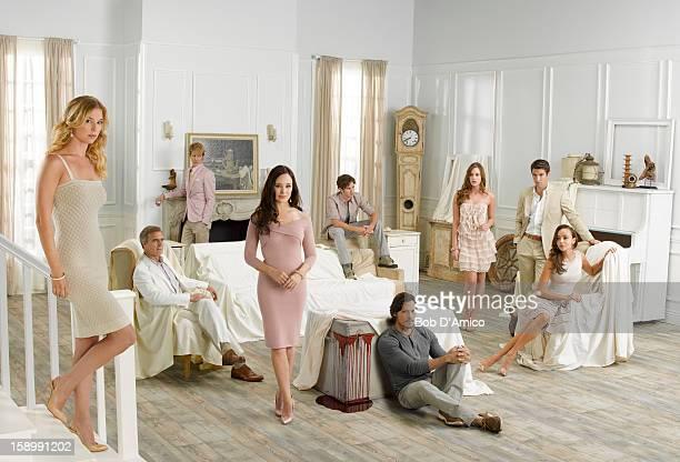 "Walt Disney Television via Getty Images's ""Revenge"" stars Emily VanCamp as Emily Thorne, Henry Czerny as Conrad Grayson, Gabriel Mann as Nolan Ross,..."