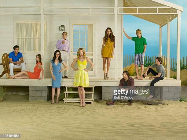 "Walt Disney Television via Getty Images's ""Revenge"" stars Josh Bowman as Daniel Grayson, Christa B. Allen as Charlotte Grayson, Madeleine Stowe as..."