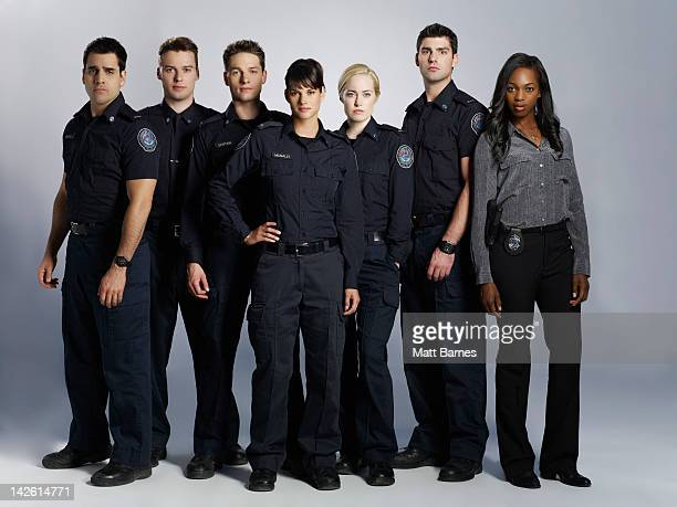 BLUE Walt Disney Television via Getty Images's Rookie Blue stars Ben Bass as Sam Swarek Peter Mooney as Nick Collins Gregory Smith as Dov Epstein...