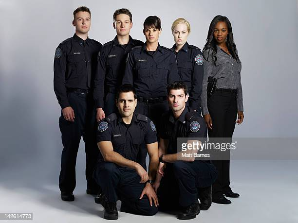 BLUE Walt Disney Television via Getty Images's Rookie Blue stars Peter Mooney as Nick Collins Gregory Smith as Dov Epstein Ben Bass as Sam Swarek...