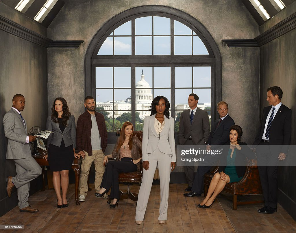 SCANDAL - ABC's 'Scandal' stars Columbus Short as Harrison Wright, Katie Lowes as Quinn Perkins, Guillermo Diaz as Huck, Darby Stanchfield as Abby Whelan, Kerry Washington as Olivia Pope, Joshua Malina as David Rosen, Jeff Perry as Cyrus Beene, Bellamy Young as Mellie Grant and Tony Goldwyn as President Fitzgerald Grant.