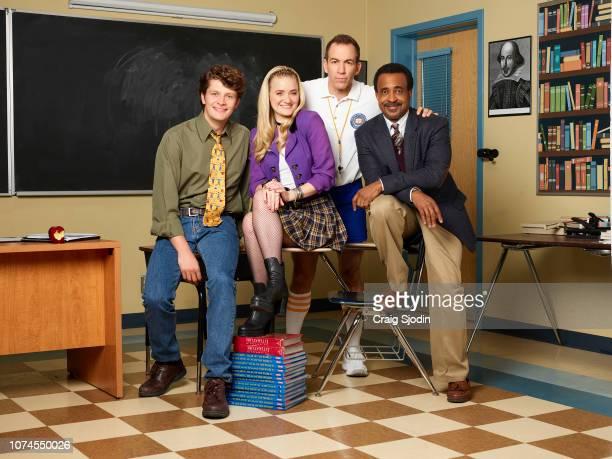SCHOOLED Walt Disney Television via Getty Images's Schooled stars Brett Dier as Charlie Brown AJ Michalka as Lainey Lewis Bryan Callen as Coach...