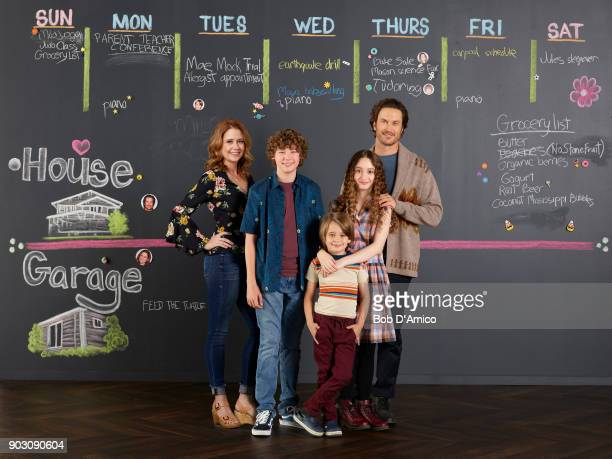 TOGETHER Walt Disney Television via Getty Images's Splitting Up Together stars Jenna Fischer as Lena Van Crosby as Mason Sander Thomas as Milo Olivia...