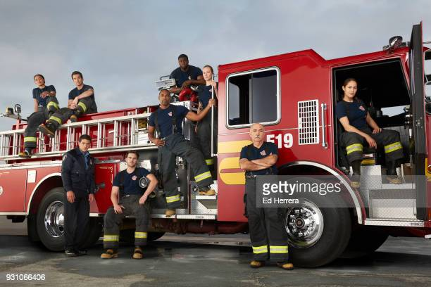 "Walt Disney Television via Getty Images's ""Station 19"" stars Barrett Doss as Victoria Hughes, Jay Hayden as Travis Montgomery, Alberto Frezza as Ryan..."