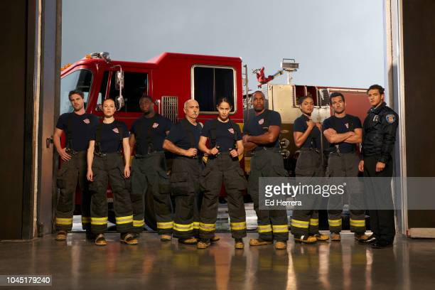 "Walt Disney Television via Getty Images's ""Station 19"" stars Grey Damon as Jack Gibson, Danielle Savre as Maya Bishop, Okieriete Onaodowan as Dean..."
