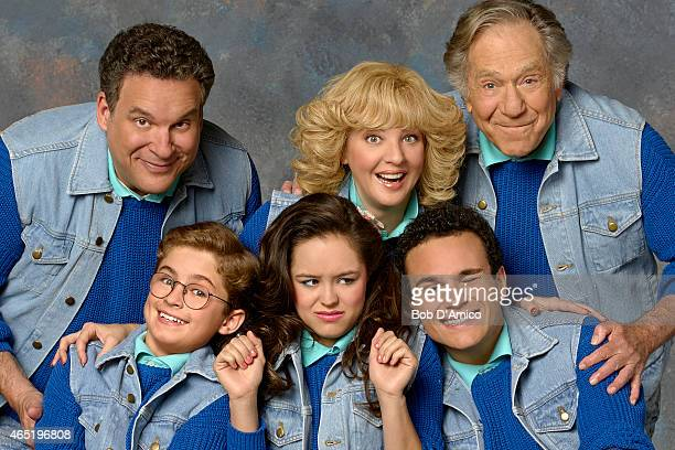 "Walt Disney Television via Getty Images's ""The Goldbergs"" stars Jeff Garlin as Murray Goldberg, Sean Giambrone as Adam Goldberg, Hayley Orrantia as..."