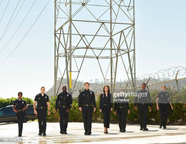 THE ROOKIE Walt Disney Television via Getty Images's The Rookie stars Afton Williamson as Talia Bishop Eric Winter as Tim Bradford Richard T Jones as...