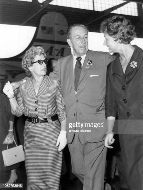 Walt Disney wife Lillian Marie Disney and the chief of protocol of the film festival Mrs Succar arriving at Berlin Tempelhof airport on 30 June 1958...