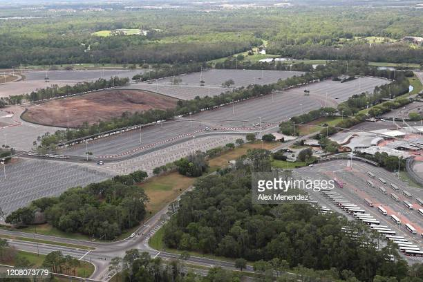Walt Disney World parking lots remain closed to the public due to the Coronavirus threat on March 23 2020 in Orlando Florida The United States has...
