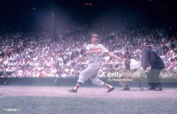 Walt Dropo of the Baltimore Orioles swings at the pitch during an MLB game against the Detroit Tigers on June 28 1959 at Briggs Stadium in Detroit...