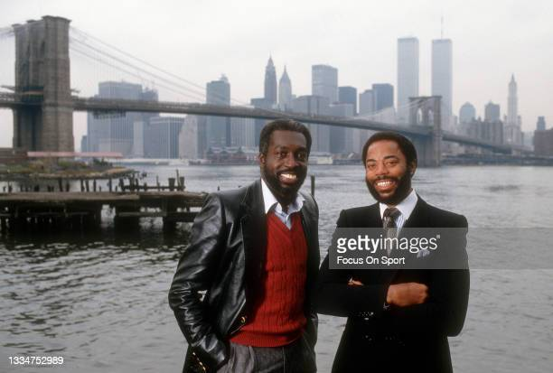Walt Frazier and Earl Monroe of the New York Knicks pose together for this portrait circa 1978 in the Brooklyn borough of New York City. Frazier...