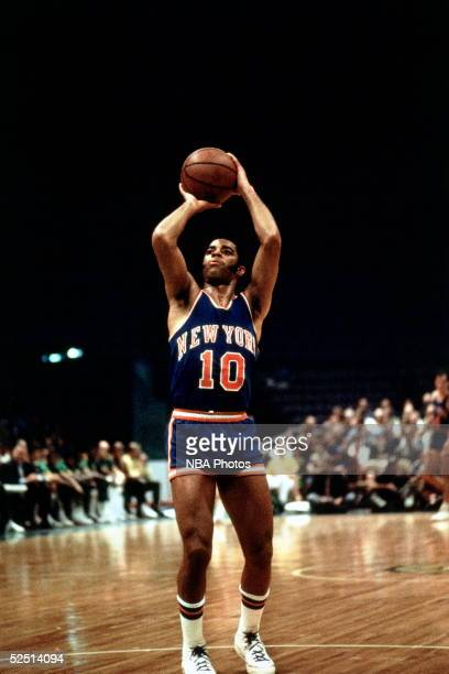Walt Frazier of the New York Knicks shoots a free throw during an NBA game