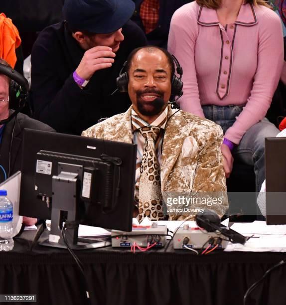 Walt Frazier seen during Detroit Pistons v New York Knicks game at Madison Square Garden on April 10 2019 in New York City