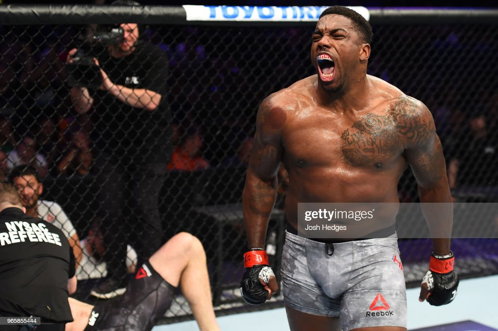 Walt Harris celebrates after defeating Daniel Spitz in their heavyweight fight during the UFC Fight Night event at the Adirondack Bank Center on June 1, 2018 in Utica, New York.