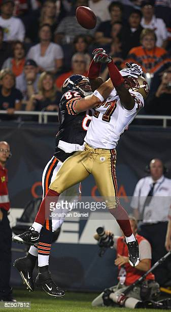 Walt Harris of the San Francisco 49ers breaks up a pass intended for Greg Olsen of the Chicago Bears on August 21 2008 at Soldier Field in Chicago...