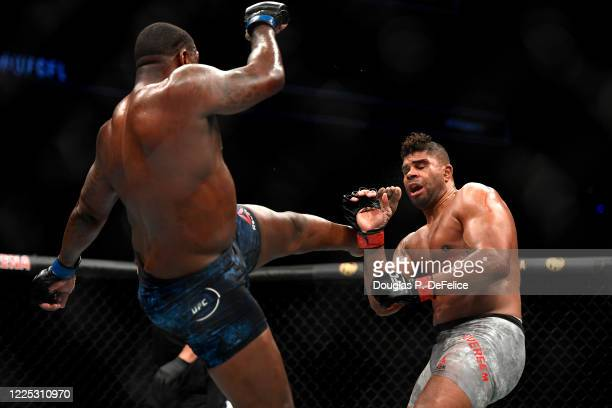 Walt Harris of the United States fights Alistair Overeem of the Netherlands in their Heavyweight bout during UFC Fight Night at VyStar Veterans...