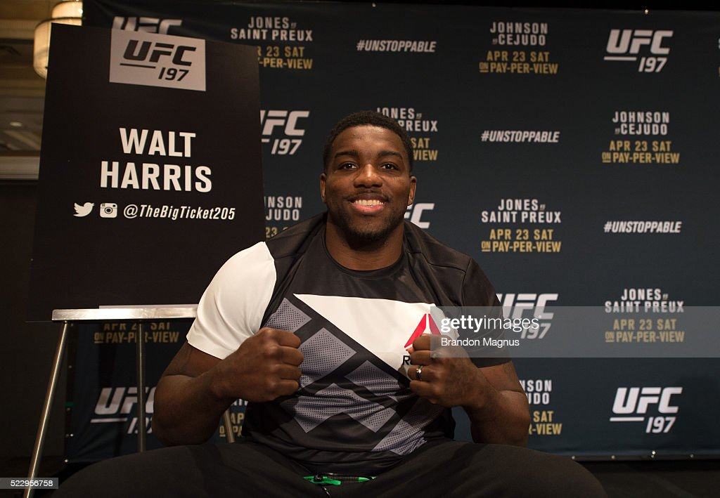 Walt Harris poses for a portrait during the UFC 197: Ultimate Media Day at MGM Grand Hotel & Casino on April 21, 2016 in Las Vegas Nevada.