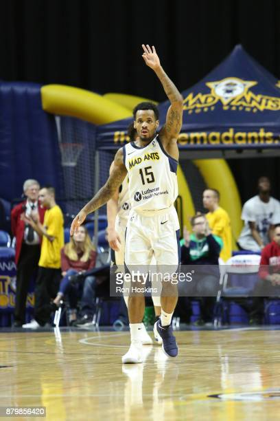 Walt Lemon Jr #15 of the Fort Wayne Mad Ants after hitting a three on the Northern Arizona Suns during their NBDL game at Memorial Coliseum on...