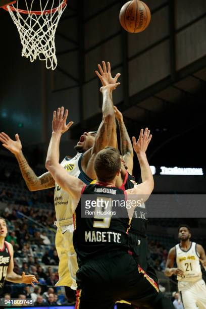 Walt Lemon Jr #15 of the Fort Wayne Mad Ants battles Josh Magette of the Erie Bayhawks in the 2018 Eastern Conference semifinals of the NBA G League...