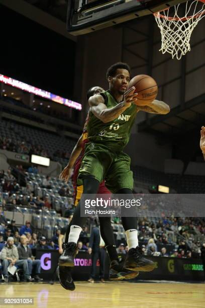 Walt Lemon Jr #15 of the Fort Wayne Mad Ants drives on a Canton Charge defender on March 16 2018 at Memorial Coliseum in Fort Wayne Indiana NOTE TO...