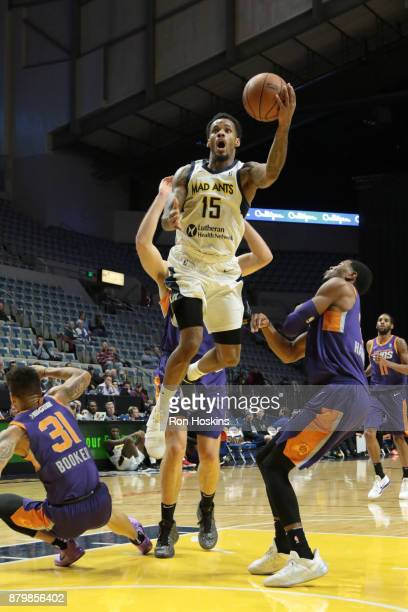 Walt Lemon Jr #15 of the Fort Wayne Mad Ants moves on a Northern Arizona Suns defender during their NBDL game at Memorial Coliseum on November 26...