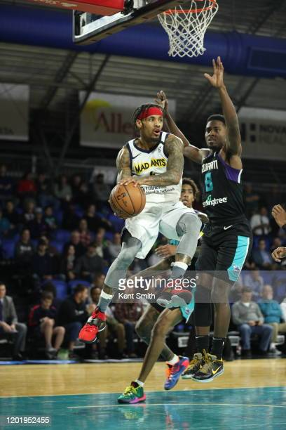 Walt Lemon Jr. #4 of the Fort Wayne Mad Ants drives to the basket against Donte Ingram of the Greensboro Swarm at The Fieldhouse in Greensboro, North...