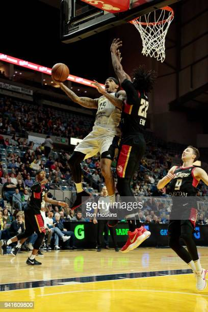 Walt Lemon of the Fort Wayne Mad Ants Jeremy Evans of the Erie Bayhawks in the 2018 Eastern Conference semifinals of the NBA G League on April 3 2018...