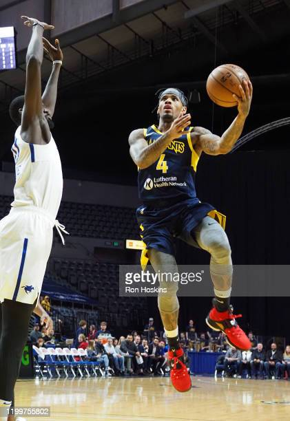 Walt Lemon of the Fort Wayne Mad Ants shoots the ball against the Delaware Blue Coats on February 09, 2020 at Memorial Coliseum in Fort Wayne,...
