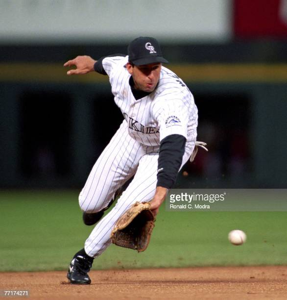 Walt Weiss of the Colorado Rockies fielding against the Atlanta Braves during the National League Division Series on October 3 1995 in Denver Colorado