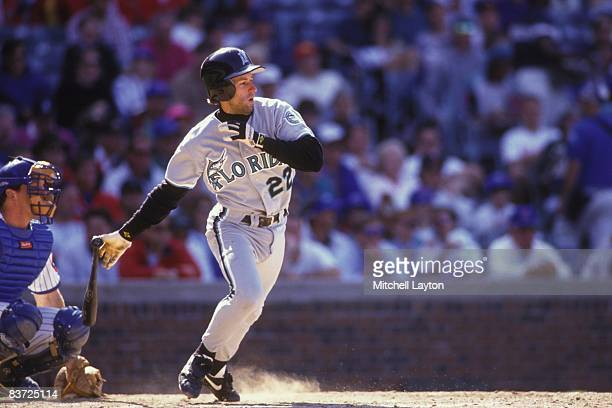 Walt Weiss of the Florida Marlins bats during a baseball game against the Chicago Cubs on June 1 1993 at Wrigley Field in Chicago Illinois
