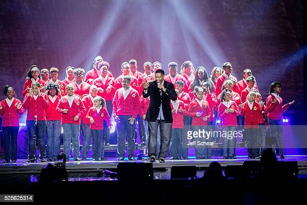 Walt Whitman and The Soul Children of Chicago perform WE Day Chicago at Allstate Arena on April 28 2016 in Chicago Illinois