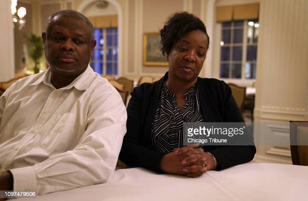 Walter and Felicia Hankins parents of Jordan Hankins a Northwestern basketball player who committed suicide in her dorm room in 2017 are photographed...