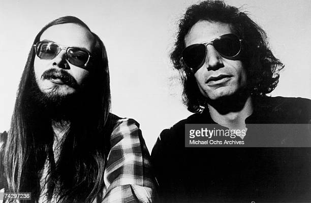 Walter Becker and Donald Fagen of 'Steely Dan' pose for a portrait in April 1978