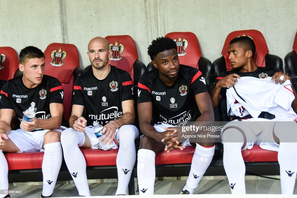 Walter Benitez, Remi Walter , Christophe Jallet and Adrien Tameze of Nice during the UEFA Champions League Qualifying match between Nice and Ajax Amsterdam at Allianz Riviera Stadium on July 26, 2017 in Nice, France.