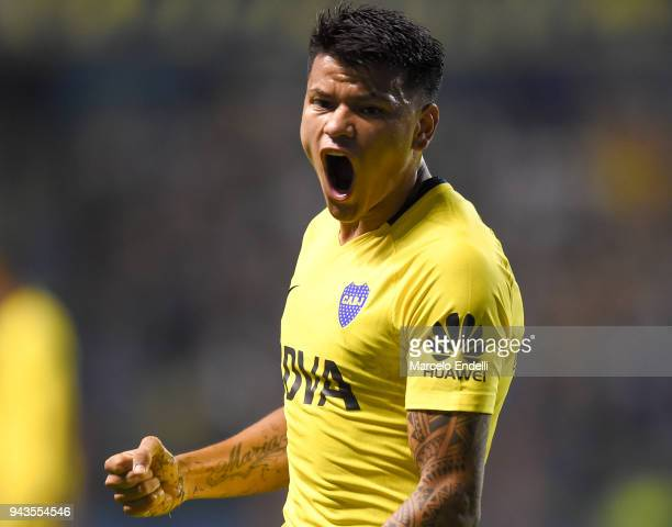 Walter Bou of Boca Juniors celebrates after Dylan Gissi of Defensa y Justicia scores an own goal during a match between Boca Juniors and Defensa y...