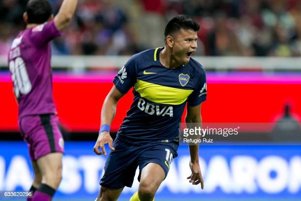 Walter Bou of Boca Juniors celebrates after scoring the first goal of his team during a friendly match between Chivas and Boca Juniors at Chivas...