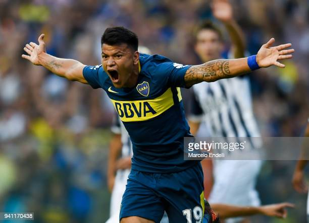 Walter Bou of Boca Juniors celebrates after scoring the first goal of his team during a match between Boca Juniors and Talleres as part of Superliga...