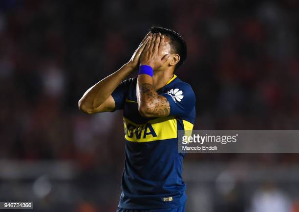 Walter Bou of Boca Juniors reacts during a match between Independiente and Boca Juniors as part of Superliga 2017/18 at Libertadores de America...