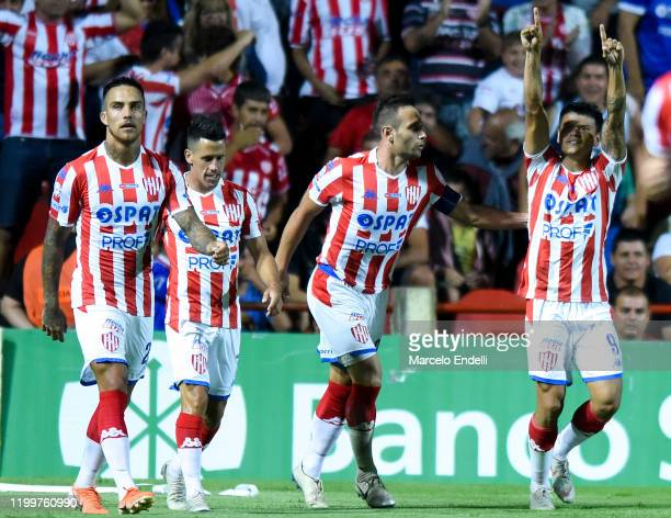 Walter Bou of Union celebrates after scoring the first goal of his team during a match between Union and River Plate as part of Superliga 2019/20 at...