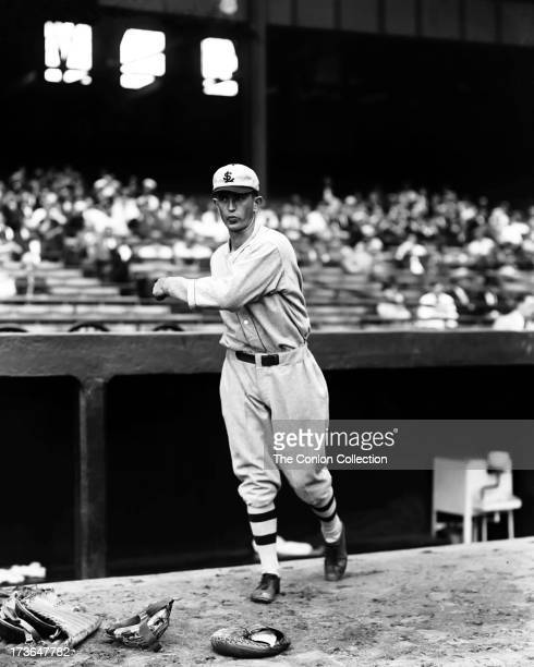 Walter C Stewart of the St Louis Browns throwing a ball in 1927