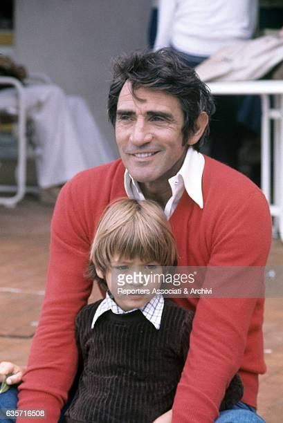 Walter Chiari Italian actor comician and TV host holding the son Simone the child he had with the Italian singer and actress Alida Chelli Porto...